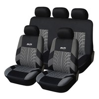 Adeco [CV0225] 9-Piece Car Vehicle Seat Covers - Whole Set - Universal Fit - Black and Gray with Embroidery; Interior Decor