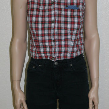 90s denim vest plaid crop cropped top shirt tank soft grunge hipster hippie boho festival rave cyber goth punk s m crinkle