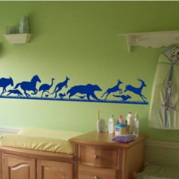 Animals Running Thru Grass Sticker Wall Decal Kids Room Zoo Fun Boy Teen Girl
