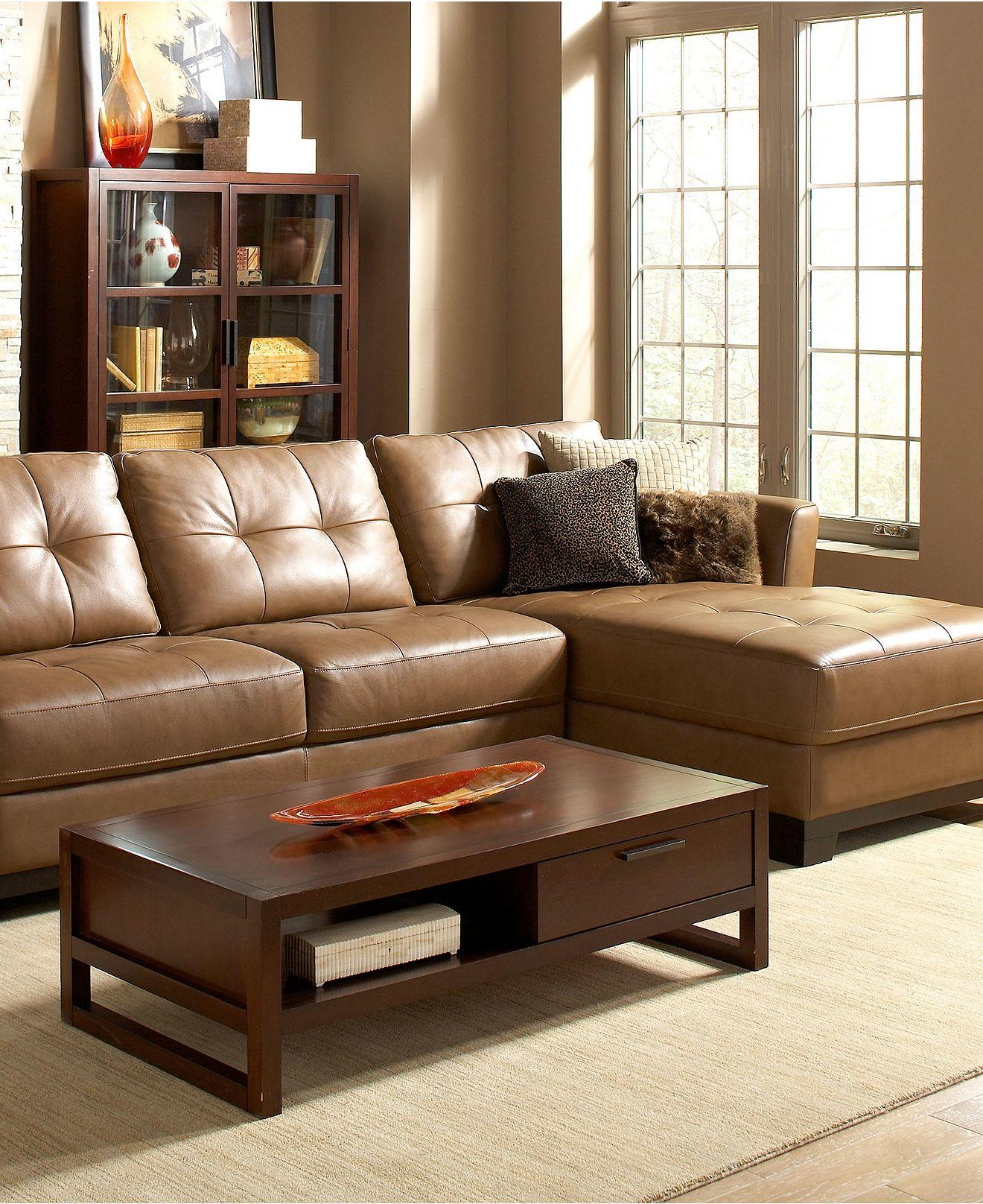 Living Room Furniture Leather Sectional: Martino Leather Sectional Living Room From Macys