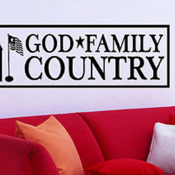 Family - God - Country quote wall sticker quote decal wall art decor 6210