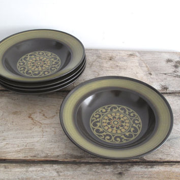 Vintage Mikasa Cereal Bowls - Mid Century Ceramic Bowls - Green Pottery