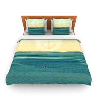 "Robin Dickinson ""Row Your Own Boat"" Teal Ocean Fleece Duvet Cover"