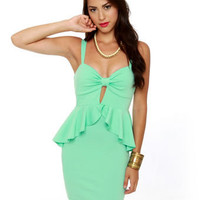 Pretty Mint Green Dress - Peplum Dress - $37.50