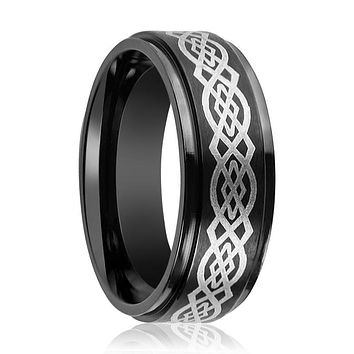 Aydins Tungsten Carbide Mens Band Black Celtic Knot Design Engraved Center Stepped Edge 7mm, 9mm Tungsten Wedding Ring