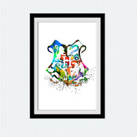 Hogwarts crest print, Harry Potter watercolor poster, Hogwarts crest multi color art, home decoration, wall hanging gift, kids room, W133