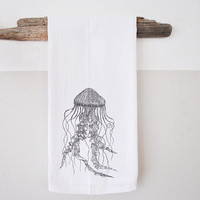 Jellyfish print - Hand Printed dish cloth - dish cloth - hand towel - beach decor - nautical dish towel - nautical home decor
