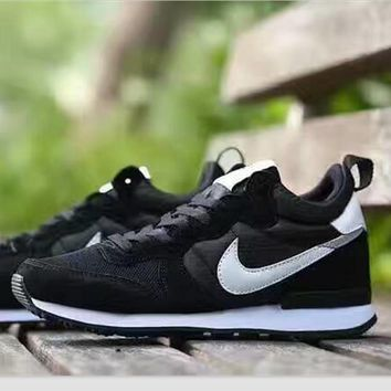 NIKE Fashion women men Casual Shoes Sneakers Black white hook