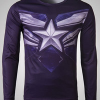3D Captain America Pattern Long Sleeve T-Shirt