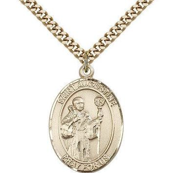 "Saint Augustine Medal For Men - Gold Filled Necklace On 24"" Chain - 30 Day Mo... 617759470925"