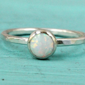 Opal ring, sterling silver white thin stacking ring, handmade, engagement, promise ring, bridal, gift for bridesmaid, October birthstone