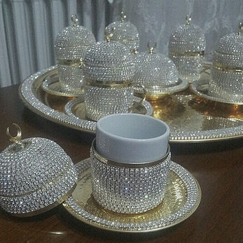 Swarovski coffee set,swarovski houseware, espresso glass, silver candy dish, coffee set,Beautiful Gifts,,coffee set, Turkish coffee