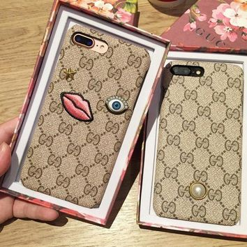 LMFON Gucci Fashion Embroider silica gel phone case iPhone 6 s mobile phone shell iPhone 7 plus shell