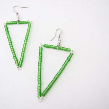 Long triangular green dangle earrings. Long  grass green Earrings. Spring fashion. Geometric earrings