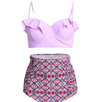 2017 Flounce Bikinis Women Swimsuit High Waist Bathing Suit Plus Size Swimwear Push Up Bikini Set Vintage Retro Beach Wear