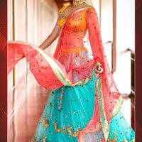 Yellow & Turquoise Blue Bollywood Lehenga Choli online