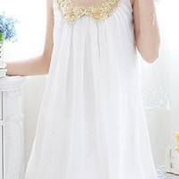 Peter Pan Collar Sleeveless Chiffon Sequined Mini Dress
