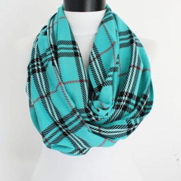 plaid scarf,scarves,long scarf,loop scarf,plaid infinity scarf