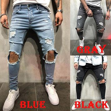 2018 spring and summer new jeans Shredded jeans men's summer thin section men's retro Distressed  Fashion Skinny Fit Jeans