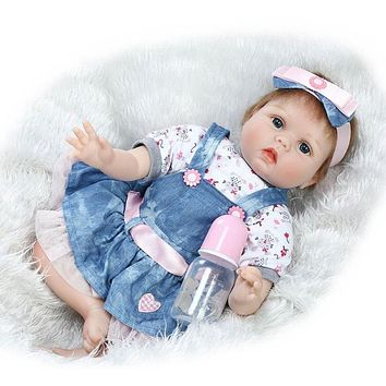 Girls Simulation Reborn Baby Doll Soft Lifelike Silicone Newborn Infants Doll Toys Realistic Babies Doll