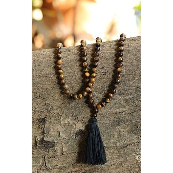 Tiger Eye Buddhist Mala Beads Necklace with Black Tassels