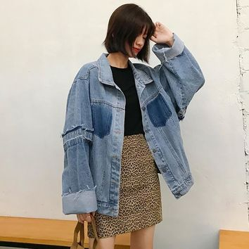 Trendy [EWQ] New Autumn 2018 Fashion Long Batwing Sleeve Lapel Patchwork Single Breasted Asymmetrical Loose Denim Coat AA734 AT_94_13
