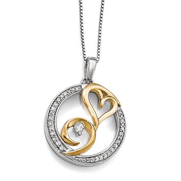 Arms of Love Round Diamond Necklace in Sterling Silver & 14k Gold