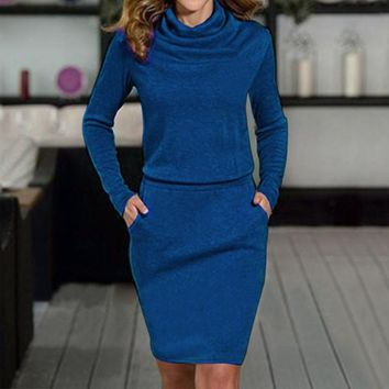 New Fashion Women Turtleneck Dress