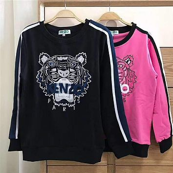 KENZO Fashionable Women Men Casual Embroidery Long Sleeve Round Collar Sweater Top Sweatshirt