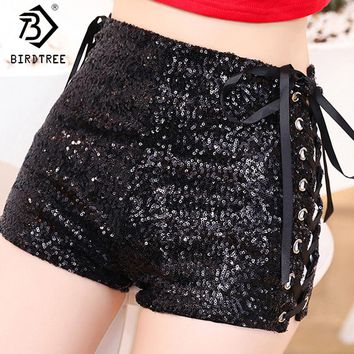 Summer Fashion Bandage Lace up Sexy Super Shorts 2018 Women Sexy Sequin Shorts Skinny Black Jazz Dancer Black Shorts Hot B81908A