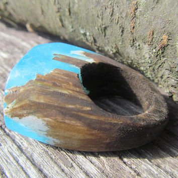 Resin rings Wood ring Blue ring Forest ring Magic ring Resin jewelry wooden jewelry Wood resin Ring resin Unique ring 10 Handmade