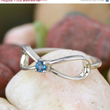 CYBER MONDAY SALE London Blue Topaz Infinity Ring - Sterling Silver Ring - Gemstone Jewelry - Blue Gemstone -December Birthstone Ring - Topa