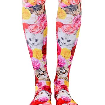 Kitty Garden Knee High Socks