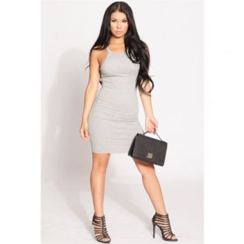 Grey Ribbed Knit Body Con Dress @ Cicihot sexy dresses,sexy dress,prom dress,summer dress,spring dress,prom gowns,teens dresses,sexy party wear,ball dresses