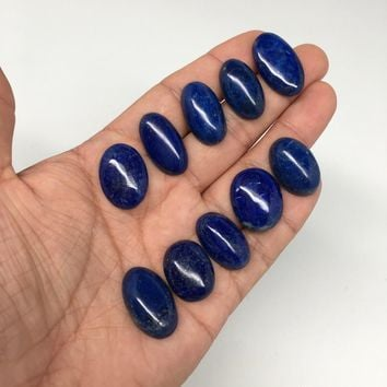 181 cts, 10 pcs,Natural Oval Shape Lapis Lazuli Cabochons @Afghanistan, Lot105
