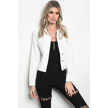 Ladies fashion long sleeve white copped denim jacket that features dragon embroidered details along the back