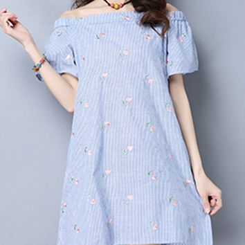 Streetstyle  Casual Pinstripe Off Shoulder Embroidery Shift Dress