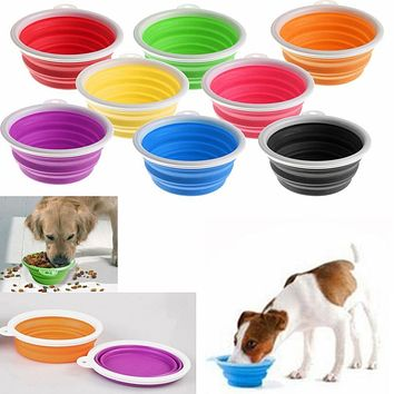 Portable Collapsible Folding Travel Pet Feeding Bowl Dog Cat Water Dish Feeder