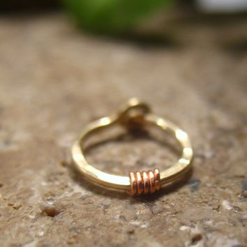 Hoop Earring Gold with Copper Hammered & Wrapped Single