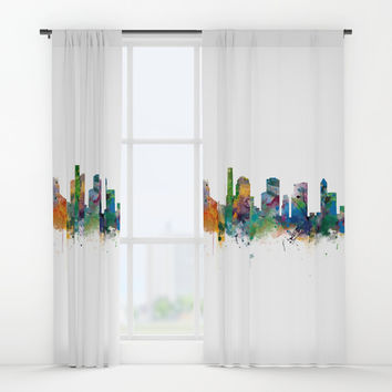 Houston Skyline Window Curtains by monnprint
