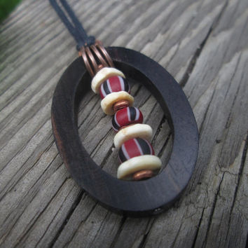 Red Black White / Striped / African Trade Beads  / Ebony Wood /  Ostrich Shell /  Pendant / Unisex / For Him / Adjustable Necklace / Oval