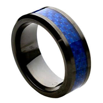 Ceramic Blue Carbon Fiber Inlay Ring 8MM