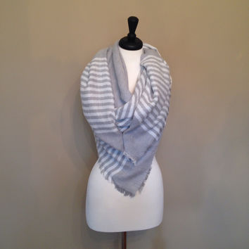 Gray Striped Blanket Scarf by KnitPopShop