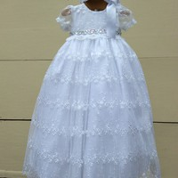 Christina-christening gown with bonnet-baptism-bautizo