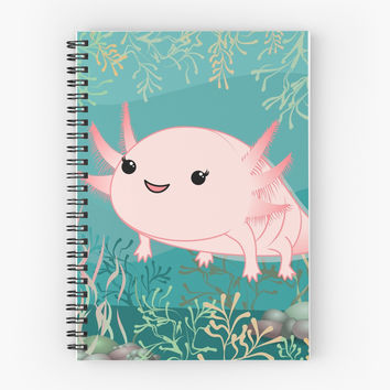 'Axolotl baby kawaii' Spiral Notebook by Pendientera