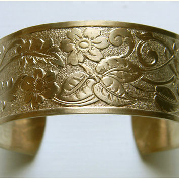 Raw Brass Flower leaf Victorian Style Cuff Bracelet - 1 pc.