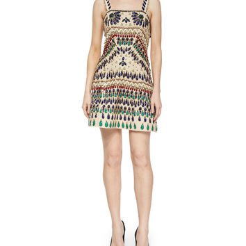Fowler Beaded Embroidered Dress, Size: