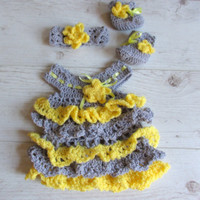 Ruffle Baby Dress , Headband and Booties set in  grey yellow, Infant Clothes, Crochet Baby Dress, take home clothes