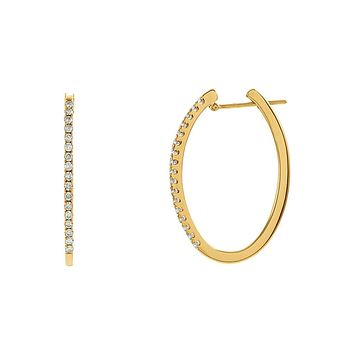 29mm Oval 1/2 Cttw Diamond Hoop Earrings in 14k Yellow Gold