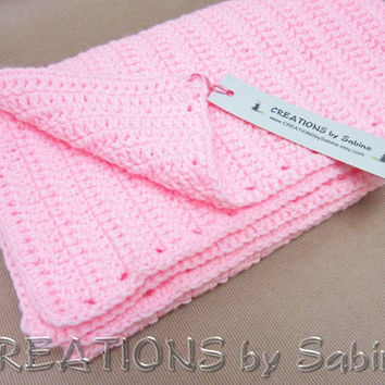 "Baby Girl Crochet Afghan Blanket, Lap Throw Blanket, 30x35"", Handmade, Pink Soft READY TO SHIP (18)"